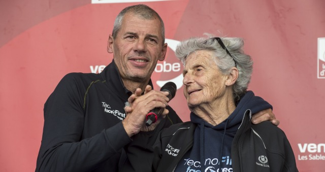 Mother on podium during Finish arrival of Sebastien Destremau (FRA), skipper Technofirst Face Ocean,18th of the sailing circumnavigation solo race Vendee Globe, in Les Sables d'Olonne, France, on March 10th, 2017 - Photo Olivier Blanchet / DPPI / Vendee GlobeArrivée de Sebastien Destremau (FRA), skipper Technofirst Face Ocean, 18ème du Vendee Globe, aux Sables d'Olonne, France, le 10 Mars 2017 -