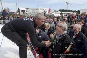 Pontoon with Yves Auvinet (CG85 President) during Finish arrival of Sebastien Destremau (FRA), skipper Technofirst Face Ocean,18th of the sailing circumnavigation solo race Vendee Globe, in Les Sables d'Olonne, France, on March 10th, 2017 - Photo Olivier Blanchet / DPPI / Vendee GlobeArrivée de Sebastien Destremau (FRA), skipper Technofirst Face Ocean, 18ème du Vendee Globe, aux Sables d'Olonne,