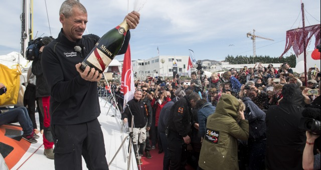 Pontoon with Mumm champagne during Finish arrival of Sebastien Destremau (FRA), skipper Technofirst Face Ocean,18th of the sailing circumnavigation solo race Vendee Globe, in Les Sables d'Olonne, France, on March 10th, 2017 - Photo Olivier Blanchet / DPPI / Vendee GlobeArrivée de Sebastien Destremau (FRA), skipper Technofirst Face Ocean, 18ème du Vendee Globe, aux Sables d'Olonne, France, le 10