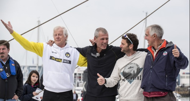 Pieter Heerema (NL), skipper No Way Back, Arnaud Boissieres (FRA), skipper La Mie Caline, Rich Wilson (USA), skipper Great American IV, congratulation during Finish arrival of Sebastien Destremau (FRA), skipper Technofirst Face Ocean,18th of the sailing circumnavigation solo race Vendee Globe, in Les Sables d'Olonne, France, on March 10th, 2017 - Photo Olivier Blanchet / DPPI / Vendee GlobeArriv