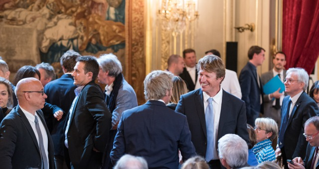 Jean-Pierre Dick (FRA), skipper St-Michel Virbac, and Yann Elies (FRA), skipper Queguiner - Leucemie Espoir, during the ceremony to honour sailing competitors, including Vendee Globe skippers, by French president Francois Hollande, at the Elysee presidential palace in Paris on April 20th, 2017 - Photo Jean-Louis Carli / DPPI