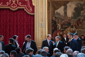 Albert de Monaco during the ceremony to honour sailing competitors, including Vendee Globe skippers, by French president Francois Hollande, at the Elysee presidential palace in Paris on April 20th, 2017 - Photo Jean-Louis Carli / DPPI