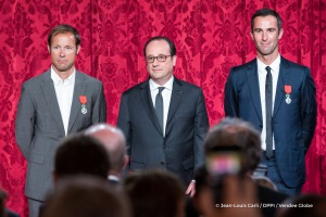 Armel Le Cleac'h (FRA), skipper Banque Populaire VIII, Vendee Globe winner, and Thomas Coville (Sodebo trimaran solo circumnavigation record) during the ceremony to honour sailing competitors, including Vendee Globe skippers, by French president Francois Hollande, at the Elysee presidential palace in Paris on April 20th, 2017 - Photo Jean-Louis Carli / DPPI