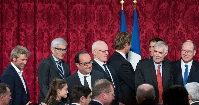 Ceremony to honour sailing competitors, including Vendee Globe skippers, by French president Francois Hollande, at the Elysee presidential palace in Paris on April 20th, 2017 - Photo Jean-Louis Carli / DPPI