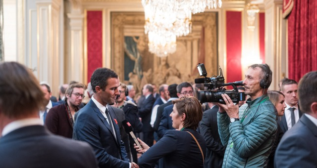 Armel Le Cleac'h (FRA), skipper Banque Populaire VIII, Vendee Globe winner with media during the ceremony to honour sailing competitors, including Vendee Globe skippers, by French president Francois Hollande, at the Elysee presidential palace in Paris on April 20th, 2017 - Photo Jean-Louis Carli / DPPI