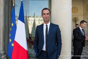 Armel Le Cleac'h (FRA), skipper Banque Populaire VIII, Vendee Globe winner, during the ceremony to honour sailing competitors, including Vendee Globe skippers, by French president Francois Hollande, at the Elysee presidential palace in Paris on April 20th, 2017 - Photo Jean-Louis Carli / DPPI