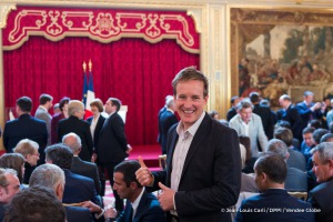 Conrad Colman (NZL), skipper Foresight Natural Energy, during the ceremony to honour sailing competitors, including Vendee Globe skippers, by French president Francois Hollande, at the Elysee presidential palace in Paris on April 20th, 2017 - Photo Jean-Louis Carli / DPPI