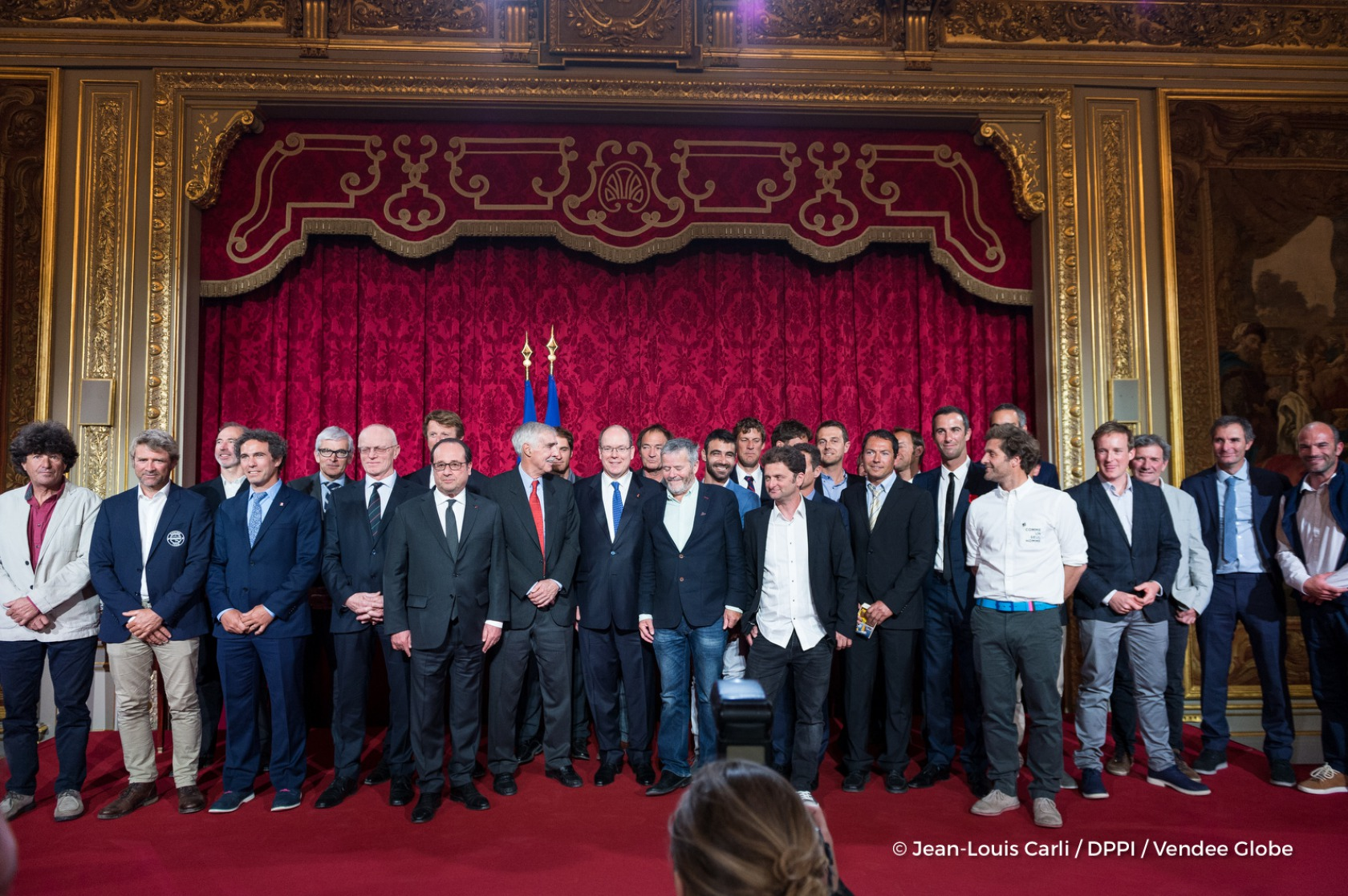 Skippers during the ceremony to honour sailing competitors, including Vendee Globe skippers, by French president Francois Hollande, at the Elysee presidential palace in Paris on April 20th, 2017 - Photo Jean-Louis Carli / DPPI