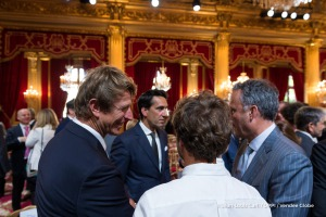 Jean-Pierre Dick (FRA), skipper St-Michel Virbac, during the ceremony to honour sailing competitors, including Vendee Globe skippers, by French president Francois Hollande, at the Elysee presidential palace in Paris on April 20th, 2017 - Photo Jean-Louis Carli / DPPI