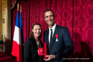 Armel Le Cleac'h (FRA), skipper Banque Populaire VIII, Vendee Globe winner, and his wife, showing Legion d'honneur during the ceremony to honour sailing competitors, including Vendee Globe skippers, by French president Francois Hollande, at the Elysee presidential palace in Paris on April 20th, 2017 - Photo Jean-Louis Carli / DPPI