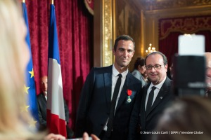 Armel Le Cleac'h (FRA), skipper Banque Populaire VIII, Vendee Globe winner, with his Legion d'honneur and the President during the ceremony to honour sailing competitors, including Vendee Globe skippers, by French president Francois Hollande, at the Elysee presidential palace in Paris on April 20th, 2017 - Photo Jean-Louis Carli / DPPI