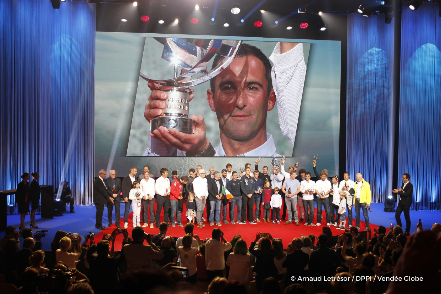 All 29 skippers and officials during the prize ceremony of the sailing race circumnavigation Vendee Globe, in Les Sables d'Olonne, west France, on May 13th, 2017 - Photo Arnaud Letresor / DPPI / Vendee Globe