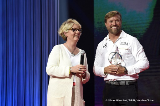 Alex Thomson (GBR), skipper Hugo Boss, 2nd, with Patricia Brochard (Sodebo President) during the prize ceremony of the sailing race circumnavigation Vendee Globe, in Les Sables d'Olonne, west France, on May 13th, 2017 - Photo Olivier Blanchet / DPPI / Vendee Globe