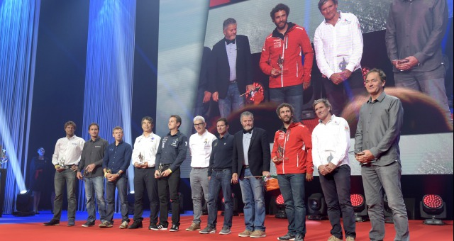 Illustration skippers during the prize ceremony of the sailing race circumnavigation Vendee Globe, in Les Sables d'Olonne, west France, on May 13th, 2017 - Photo Olivier Blanchet / DPPI / Vendee Globe