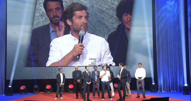 Eric Bellion (FRA), skipper Comme Un Seul Homme, 1st rookie with Bruno Retailleau (Pays de Loire President) during the prize ceremony of the sailing race circumnavigation Vendee Globe, in Les Sables d'Olonne, west France, on May 13th, 2017 - Photo Olivier Blanchet / DPPI / Vendee Globe