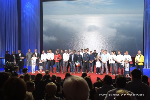 All skippers with Yves Auvinet (CG85 President) during the prize ceremony of the sailing race circumnavigation Vendee Globe, in Les Sables d'Olonne, west France, on May 13th, 2017 - Photo Olivier Blanchet / DPPI / Vendee Globe