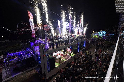 Ambiance skippers and fireworks during the prize ceremony of the sailing race circumnavigation Vendee Globe, in Les Sables d'Olonne, west France, on May 13th, 2017 - Photo Olivier Blanchet / DPPI / Vendee Globe