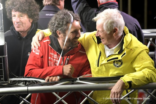 Ambiance Tanguy de Lamotte (FRA), skipper Initiatives Coeur, and Pieter Heerema (NL), skipper No Way Back,  during the prize ceremony of the sailing race circumnavigation Vendee Globe, in Les Sables d'Olonne, west France, on May 13th, 2017 - Photo Olivier Blanchet / DPPI / Vendee Globe