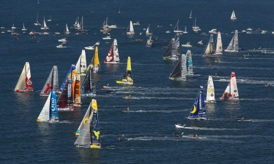 Fleet at start of the Vendee Globe, in Les Sables d'Olonne, France, on November 6th, 2016 - Photo Jean-Marie Liot / DPPI / Vendee Globe