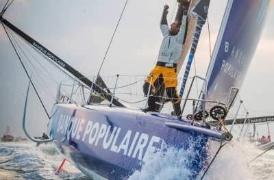 Finish arrival of Armel Le Cleac'h (FRA), skipper Banque Populaire VIII, winner of the sailing circumnavigation solo race Vendee Globe, in 74d 3h 35min 46sec, in Les Sables d'Olonne, France, on January 19th, 2017 - Photo Vincent Curutchet / DPPI / Vendee Globe