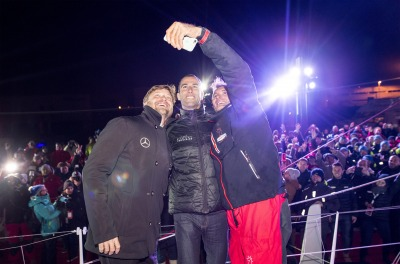 Skippers selfie during Finish arrival of Jeremie Beyou (FRA), skipper Maitre Coq, 3rd of the sailing circumnavigation solo race Vendee Globe, in Les Sables d'Olonne, France, on January 23rd, 2017 - Photo Vincent Curutchet / DPPI / Vendee Globe