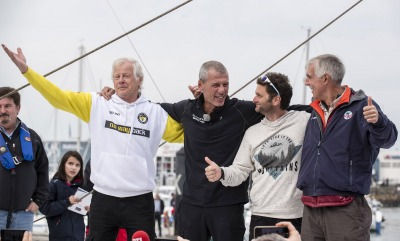 congratulation during Finish arrival of Sebastien Destremau (FRA), skipper Technofirst Face Ocean,18th of the sailing circumnavigation solo race Vendee Globe, in Les Sables d'Olonne, France, on March 10th, 2017 - Photo Olivier Blanchet / DPPI / Vendee Globe