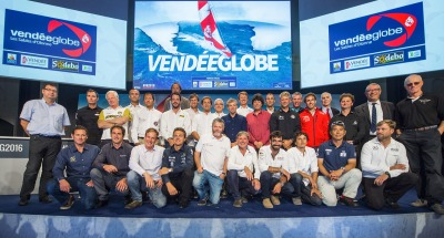 Skippers and officials picture during official launch of the Vendee Globe 2016 at Palais Brongniart in Paris, France, on september 14, 2016 - Photo Vincent Curutchet / DPPI / Vendee Globe
