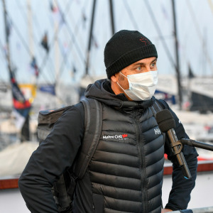 Skipper Yannick Bestaven is portraited at pontoons before the start of the Vendee Globe