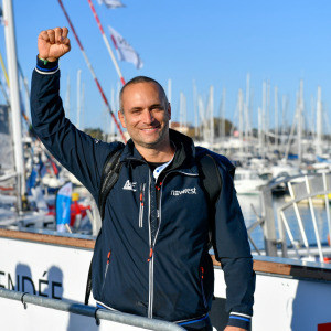 Skipper Fabrice Amedeo, Newrest - Art et Fenetres, is portraited at pontoons before the start of the Vendee Globe