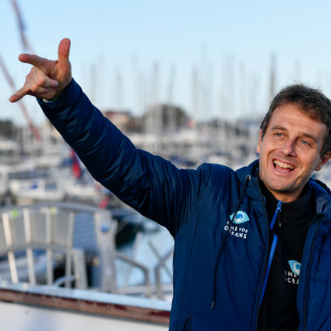 Skipper Stephane Le Diraison, Time For Oceans, is portraited at pontoons before the start of the Vendee Globe
