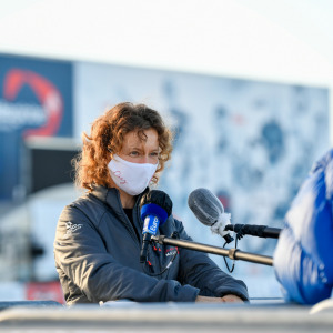 Skipper Isabelle Joschke, MACSF, is portraited at pontoons before the start of the Vendee Globe