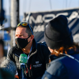 Skipper Romain Attanasio, PURE - Best Western Hotels and Resorts, is portraited at pontoons before the start of the Vendee Globe