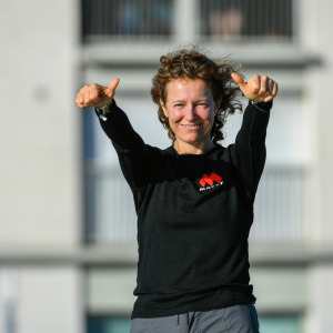 MACSF, skipper Isabelle Joschke (FRA) is illustrated in the channel before the start of the Vendee Globe