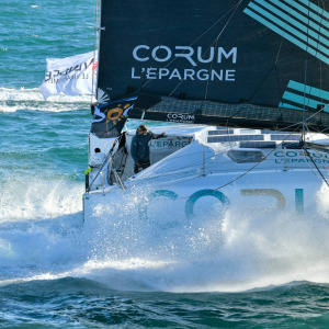 Corum L'Epargne, skipper Nicolas Troussel (FRA) is taking the start of the Vendee Globe
