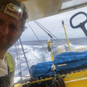 Arnaud Boissieres (La Mie Caline - Artisans Artipole) beginning the third day of the Vendee Globe