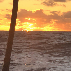 Sunset onboard the IMOCA MACSF