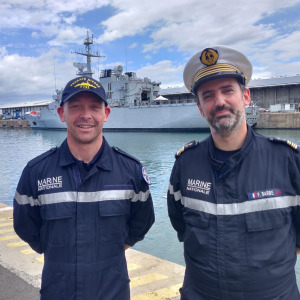 Kevin Escoffier and Commander Barbe of the French Navy