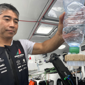 Kojiro Shiraishi is filtring sea water to see if this area of the Indian Ocean contains plastic micro-particles