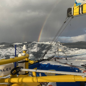 Rough sea, 45kt wind and a beautiful rainbow