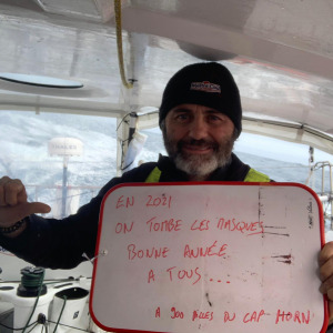 Yannick Bestaven wishes you a happy new year at 900 nm from Cape Horn