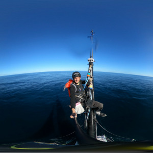 Nice panorama of Charlie at the top of his mast