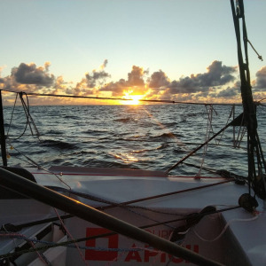 Clouds and sunset onboard Groupe APICIL
