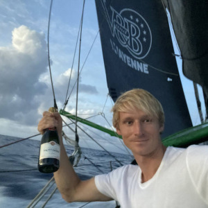 Champagne for Maxime Sorel after rounding the equator