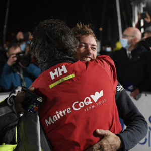 Yannick Bestaven and Thomas Ruyant congratulate themselves after their incredible race