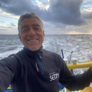 Manuel Cousin is off the coast of Portugal for the 100th day of the race